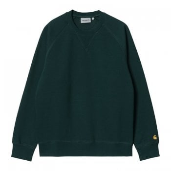 Carhartt Wip Chase Sweat in Frasier green with gold coloured embroidered Carhartt C logo