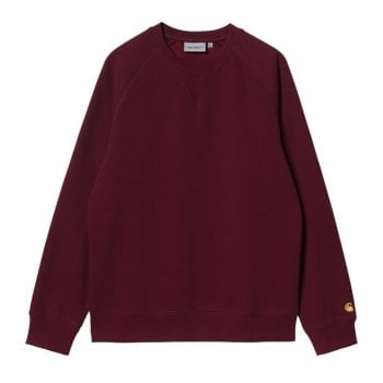 Carhartt Wip Chase Sweat in Jam with gold coloured embroidered Carhartt C logo