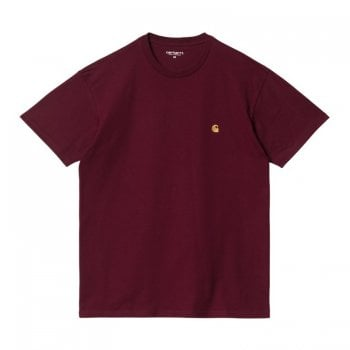 Carhartt Wip short sleeved Chase T shirt Jam with gold coloured embroidered Carhartt C logo
