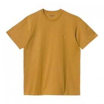 Carhartt Wip short sleeved Chase T shirt in Helios with gold coloured embroidered Carhartt C logo