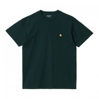 Carhartt Wip short sleeved Chase T shirt in Frasier green with gold coloured embroidered Carhartt C logo