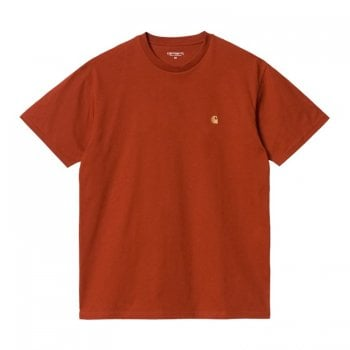 Carhartt Wip short sleeved Chase T shirt in Copperton with gold coloured embroidered Carhartt C logo