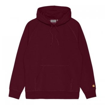 Carhartt Wip Hooded Chase Sweat in Jam with gold coloured embroidered Carhartt C logo