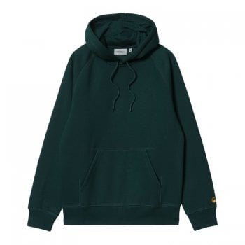 Carhartt Wip Hooded Chase Sweat in Frasier green with gold coloured embroidered Carhartt C logo