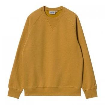 Carhartt Wip Chase Sweat in Helios with gold coloured embroidered Carhartt C logo