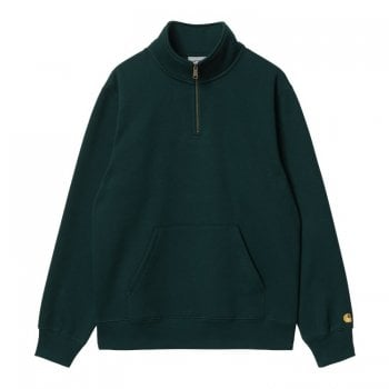Carhartt Wip Chase Neck Zip Sweat in Frasier green with gold coloured embroidered Carhartt C logo