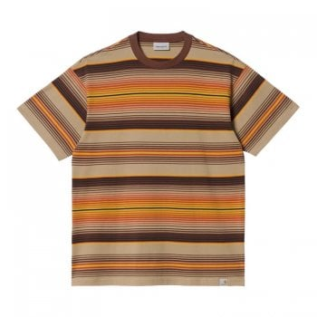 Carhartt Wip short sleeved Tuscon T Shirt in Offroad brown stripes