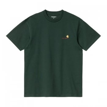 Carhartt Wip short sleeved American Script T Shirt in Grove green