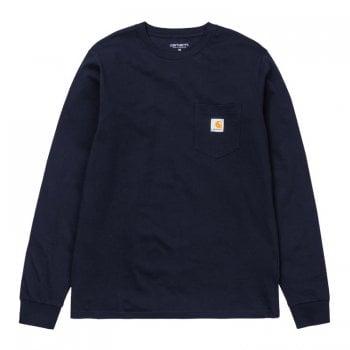 Carhartt Wip long sleeved Pocket T Shirt in Dark Navy