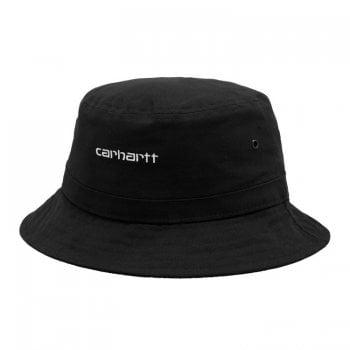 Carhartt Wip Script Bucket Hat Black with white embroidered Carhartt Script logo