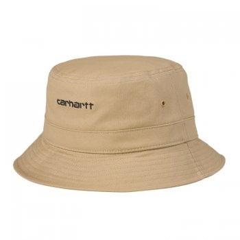 Carhartt Wip Script Bucket Hat in Dusty Hamilton Brown with black embroidered Carhartt Script logo