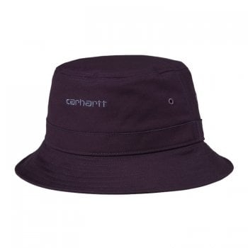 Carhartt Wip Script Bucket Hat in Dark Iris with cold viola embroidered Carhartt Script logo