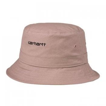 Carhartt Wip Script Bucket Hat in Earthy Pink with black embroidered Carhartt Script logo