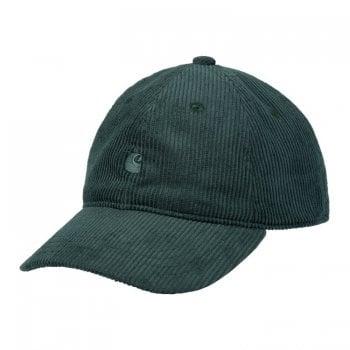 Carhartt Wip Harlem Cap in Frasier green with Frasier green coloured embroidered Carhartt C Logo