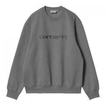 Carhartt Wip Carhartt Sweat in Shiver Grey with blacksmith grey embroidered Carhartt logo