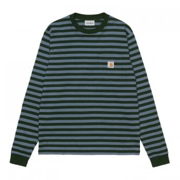 Carhartt Wip long sleeved Scotty Pocket T shirt with Frasier green and Icesheet blue stripes