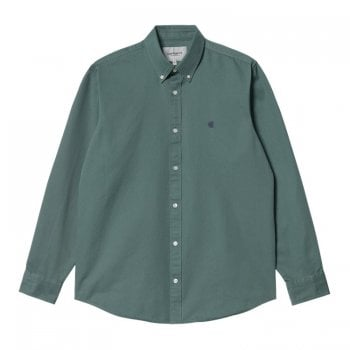 """Carhartt Wip long sleeved Madison Shirt in Eucalyptus with dark navy coloured embroidered Carhartt """"C"""" logo"""