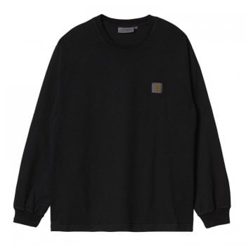 Carhartt Wip Long Sleeved Vista T Shirt in Soot (washed black)