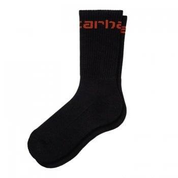 Carhartt Wip Carhartt Socks in Black with Copperton Carhartt script logo