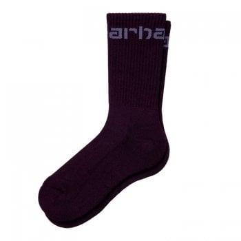 Carhartt Wip Carhartt Socks in Dark Iris with old Viola Carhartt script logo
