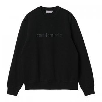 Carhartt Wip Carhartt Sweat in Black with black embroidered Carhartt logo