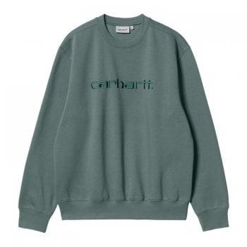 Carhartt Wip Carhartt Sweat in Eucalyptus with Frasier green embroidered Carhartt logo