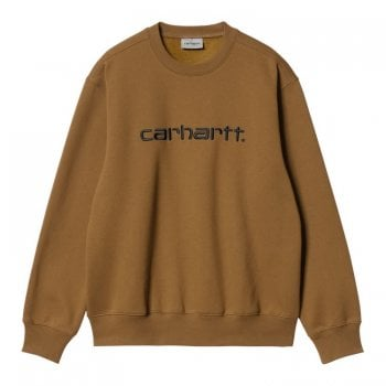 Carhartt Wip Carhartt Sweat in Hamilton Brown with black embroidered Carhartt logo