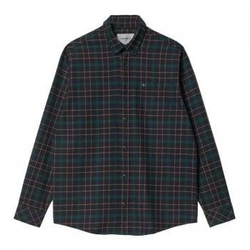 Carhartt Wip long sleeved Baxter Shirt in Dark Navy and Grove Green check