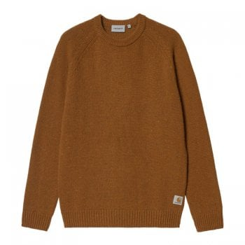 Carhartt Wip Anglistic Sweater in Speckled Tawny Brown