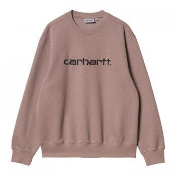 Carhartt Wip Carhartt Sweat in Earthy Pink with black embroidered Carhartt logo