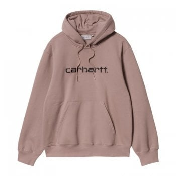 Carhartt Wip Hooded Carhartt Sweat in Earthy Pink with black embroidered Carhartt logo