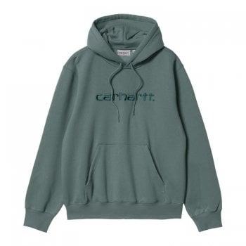 Carhartt Wip Hooded Carhartt Sweat in Eucalyptus with Frasier green embroidered Carhartt logo