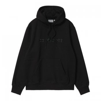 Carhartt Wip Hooded Carhartt Sweat in Black with black embroidered Carhartt logo