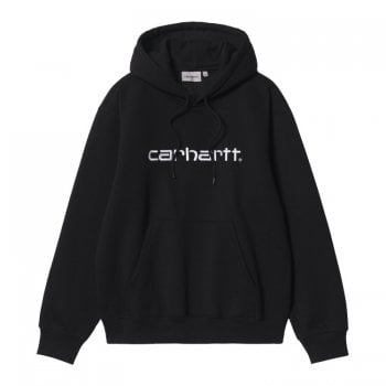 Carhartt Wip Hooded Carhartt Sweat in Black with white embroidered Carhartt logo