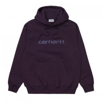 Carhartt Wip Hooded Carhartt Sweat in Dark Iris with cold viola embroidered Carhartt logo