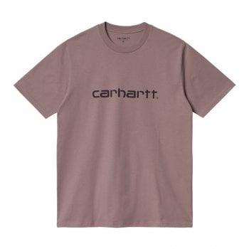 Carhartt Wip short sleeved Script T Shirt in Earthy Pink with black Carhartt Script logo
