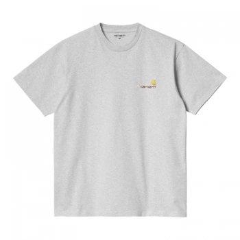 Carhartt Wip short American Script T Shirt in Ash Heather