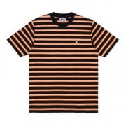 Carhartt Wip S/s Oakland T Shirt Dark Navy/pop Orange