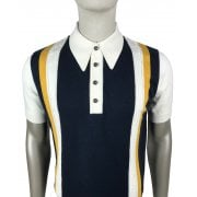 Ska And Soul S/s Striped Knit Polo Ecru/navy
