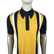 Ska And Soul S/s Striped Knit Polo Navy/yellow