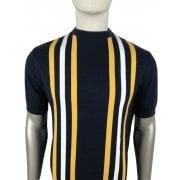 Ska And Soul Striped Knit T Shirt Navy