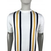 Ska And Soul Striped Knit T Shirt Ecru