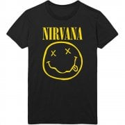 Rock Off Nirvana Yellow Smiley Flower Sniffin T Shirt Black