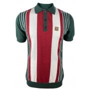 Ska And Soul Trojan Stripe Polo Forest Green