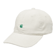 "Carhartt Wip Harlem Cap in Wax with a Kingston green embroidered Carahrtt ""C"" logo"
