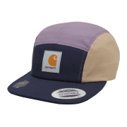 Carhartt WIP Carhartt Valiant 4 Cap with multi coloured panels of dark navy, provence, leather and cyprus