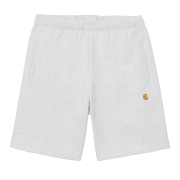 "Carhartt Wip Chase Sweat Shorts in Ash Heather grey with gold embroidered Carhartt ""C"" logo"